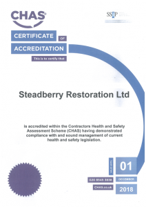 STEADBERRY RESTORATION - CHAS Certificate - Expiry December 2018
